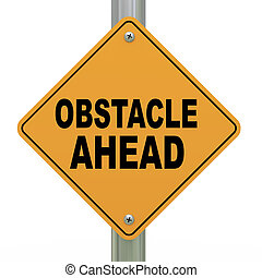 3d road sign obstacle ahead