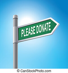 3d road sign saying please donate