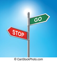 3d road sign saying stop and go