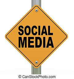 3d road sign social media