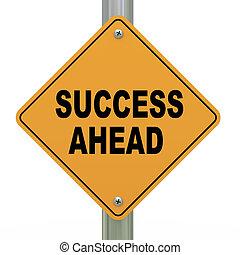 3d road sign success ahead