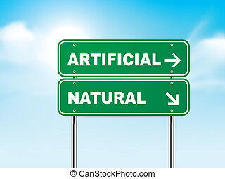 3d road sign with artificial and natural