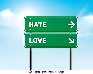 3d road sign with hate and love