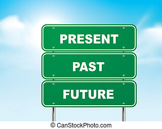 3d road sign with present, past and future isolated on blue background