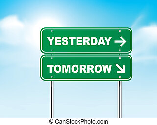 3d road sign with yesterday and tomorrow