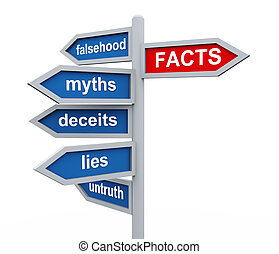 3d render of directional roadsing of facts vs untruth lies stories myths.