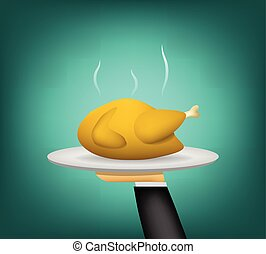 3D Roast chicken on waiter hand for serving
