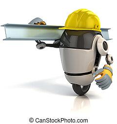 3d, robô, trabalhador construção