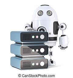 3d, robot, à, serveur, etagère., isolated., contient, attachant voie accès