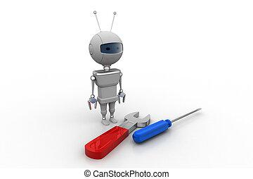 3d, robot, śrubokręt
