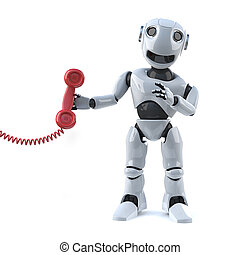 3d Robot answers the phone - 3d render of a robot holding a...