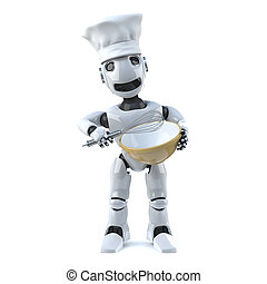 3d Robot chef with whisk and mixing bowl - 3d render of a...