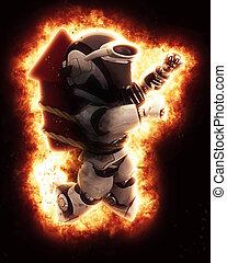 3d, robot, con, fuego artificial, y, explosión