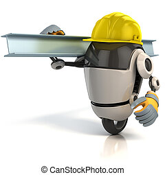 3d, robot, de arbeider van de bouw