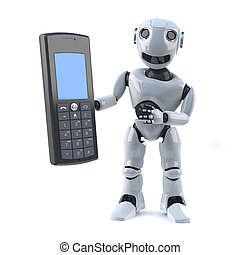 3d Robot has a mobile phone