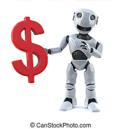 3d Robot holding a US Dollar currency symbol