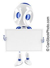 3d robot holding and presenting a blank card