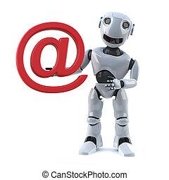 3d Robot holds an email address symbol