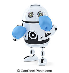 3d Robot in boxing gloves. Isolated. Contains clipping path