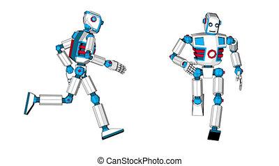 3d robot in cartoon style is running