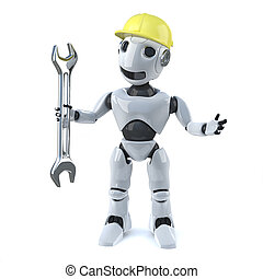3d Robot in hard hat holding a spanner - 3d render of a...