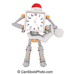 3d robot in Santa hat with clock on face and child