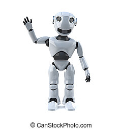3d Robot is waving at you - 3d render of a robot waving his...