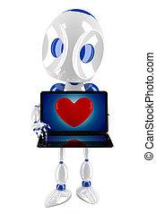 3d robot loving internet