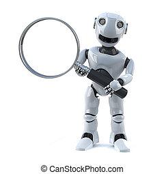 3d Robot magnifies the situation