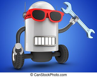 3d robot over blue - 3d illustration of robot with wrench...