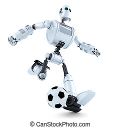 3D Robot playing football. Isolated. Contains clipping path