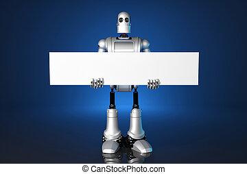 3d, robot, presa a terra, uno, vuoto, banner., contiene, ritaglio, path.