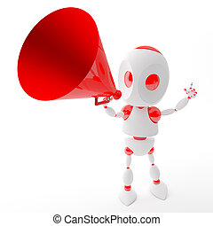 3d robot shout with a red megaphone