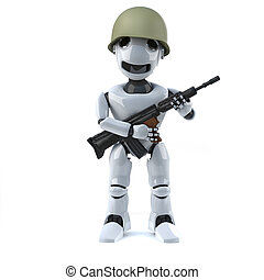 3d Robot soldier - 3d render of a robot holding a gun and...