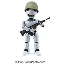 3d Robot soldier - 3d render of a robot holding a gun and...