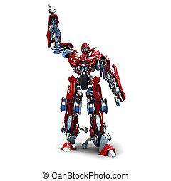 Transformer - 3d robot Transformer isolated on white...