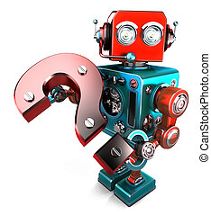3D robot with question mark. Isolated. Contains clipping path