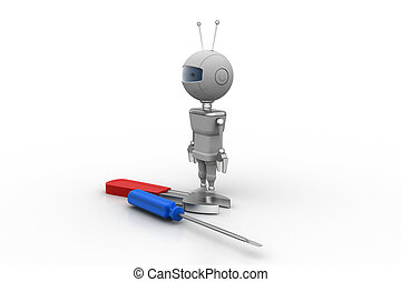 3d robot with screwdriver