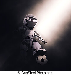3D robot with soccer / football