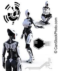 3d, roboter, concept., android, übertragung, technologie