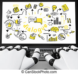 3d Robotic hands typing on a laptop with business sketch
