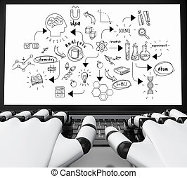 3d Robotic hands typing on a laptop with chemestry sketch