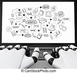 3d Robotic hands typing on a laptop with graduation sketch