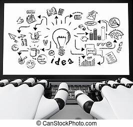 3d, robotic, siła robocza, pisząc na maszynie, na, niejaki, laptop, z, twórczość, rys