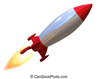 3d rocket isolated
