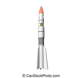 3d rocket on a white background isolated