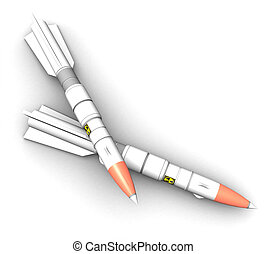 3D rockets on a white background isolated