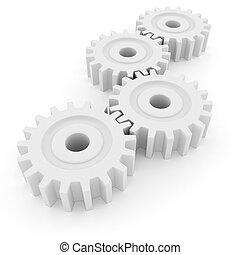 3d, roda engrenagem, isolado, branco, fundo