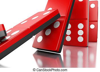 3d, rojo, dominó, azulejos, formaciónde filas, un, fila