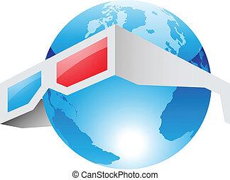 3d, rojo, gafas azules, y, mundo